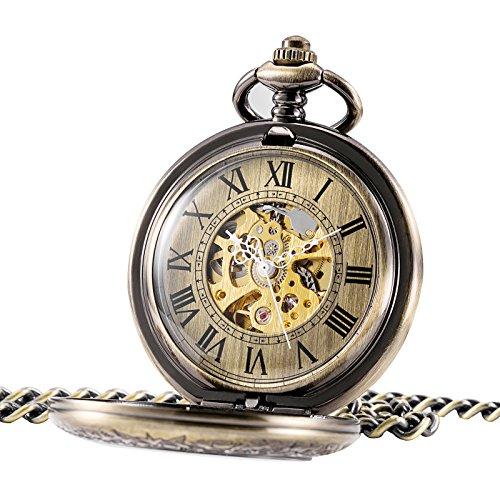 TREEWETO Retro Handaufzug Herren Mechanische Taschenuhr Bronze Skelett Uhr Römische Ziffern mit Kette und Geschenkbox
