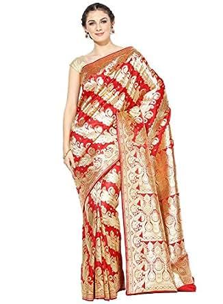 Banarasi Silk Works Silk Satin Saree With Blouse Piece(PTE61_Red_Free Size)