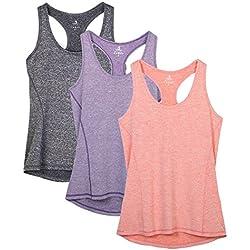 icyzone Damen Sporttop Yoga Tank Top Ringerrücken Oberteil Laufen Fitness Funktions Shirt 3er Pack Damen Tanktops (Charcoal/Lavender/Peach, S)