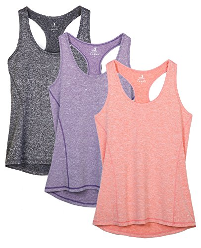 icyzone Damen Sporttop Yoga Tank Top Ringerrücken Oberteil Laufen Fitness Funktions Shirt 3er pack Damen Tanktops (Charcoal/Lavender/Peach, L) (Athletic Shirt Workout)