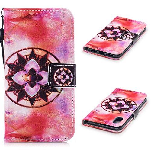 iPhone 8 Hülle,Fodlon® Mode Gemalt Karte Schlitze mit Schlüsselband Telefon Schutzhülle -Grüne Blätter Mandala