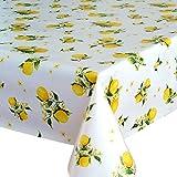 Wachstuch Tischdecke Abwaschbar Eckig 140 x 200 cm Meterware Weiß Gelb