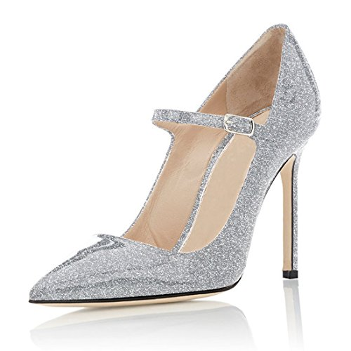 Soireelady Damen Mary Jane Pumps | 10cm high heels stiletto Pumps | Elegante High Heels Glitzern-Silber EU40
