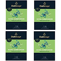 4 x Dallmayr Royal Gunpowder Grüner Tee 20 Pyramiden x 2,5g