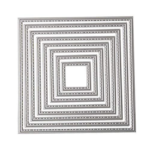 Stanzschablonen Platz, U-horizon 7pcs Squares Cutting Dies Metall Schablonen Papierbasteln für DIY Scrapbooking, Fotoalbum, Karte, Papier Dekoration, Geschenk