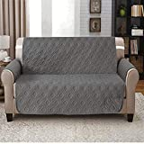 IR Waterproof Quilted Sofa Protector Settee Cover Embossed Pattern Sofa Throw Furniture slipcover Universal 1,2 & 3 Seater Sizes Pet Protection (2 Seater,Grey)