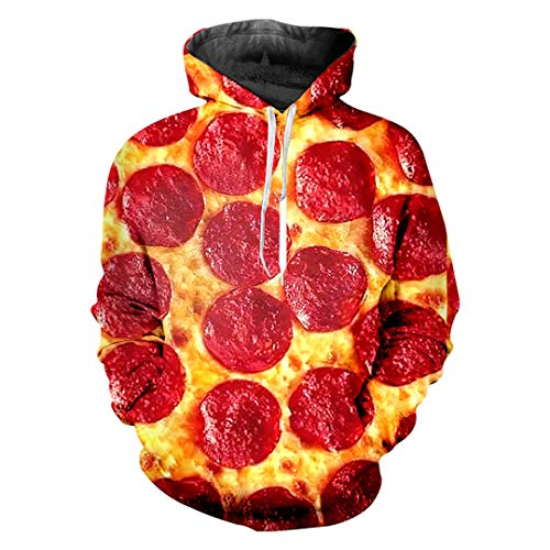 W-WORDEW MäNner Lose Gourmet 3D Hoody Print Rot Pizza Plus GrößE 6XL Tops Tees Unisex Winter Hoodies Red Pizza XXXL -