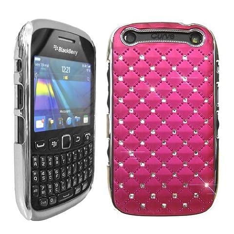 Love My Case Coque rigide glamour avec brillants et bords chromés pour BlackBerry 9320, 9220 Curve (Rose)