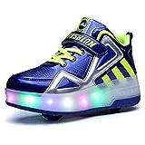 Unisex Enfants LED High-Top avec Single Doubles roulettes Bouton Poussoir Ajustable Inline Skates Baskets Chaussures de Multisports Outdoor Course à Pied Sneakers