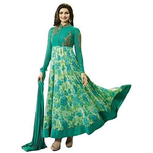 W Ethnic Women\'s Georgette Semi-Stitched Salwar Suit (Green,Free Size)