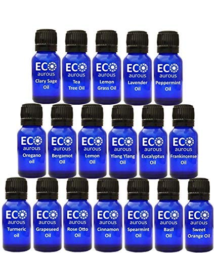 Organic Aromatherapy Essential Oils Set(36X10ml(0.33 oz Each) Pure & Natural - Turmeric Oil, Rose Otto Oil, Peppermint, Sweet Orange, Tea Tree, Lemongrass, Bergamot, Lavender & Cinnamon Oil - Kit Tea Tree