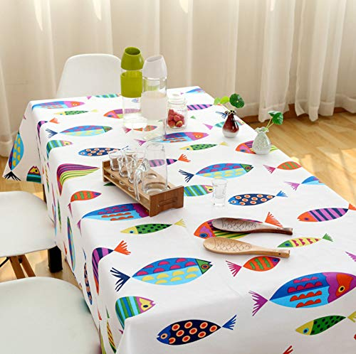 Wjydp tovaglia rettangolare in cotone e lino tessuto animale sveglio della decorazione della casa dell'hotel della tovaglia del tessuto di pesce tovaglia di copertura coffee house restaurant