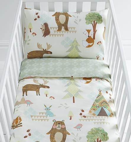 Yellowstone Animals Reversible Cot Duvet Cover and Pillowcase Set - 90cm x 120cm