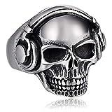 AiZnoY Acero Inoxidable Anillos Hombres Cabezaset Cráneo Anillo Plata Retro Anillo Tamaño 15