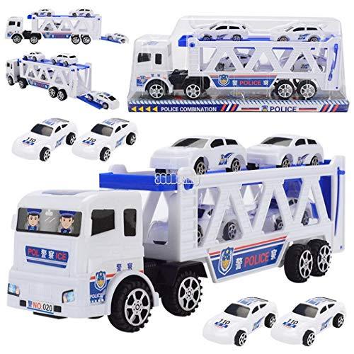 Yukio KinderToys - Playmobil Polizei LKW Truck mit Polizeiautos ungiftig, Kinder Spielzeug Geschenk für Geburtstag, Weihnachten 27 x 6 x 8 cm