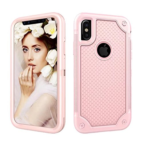 iPhone X Case, Armor Rugged Shockproof Protective Case with Air Bag Anti Drop Design, Soundmae Square Taxture Durable TPU Back Cover with Anti-Slip Edge for iPhone X [Black, Square] RoseGold RoseGold