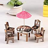 #7: Munchkin Land Doll House Beach toys set with Miniature table, chairs and umberella