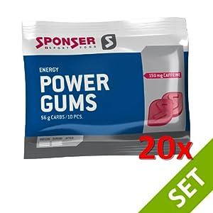 Sponser POWER GUMS RED Energy Snack 20x75g SPARSET Fitness Ausdauer, 20×17-700