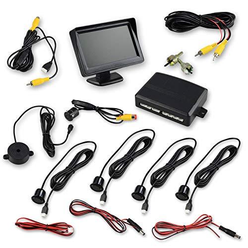 Trano Einparkhilfe mit Rückfahrkamera und Monitor - ideal zum Nachrüsten eines PDC Systems - mit Kamera und Vier Parksensoren - für hinten in schwarz