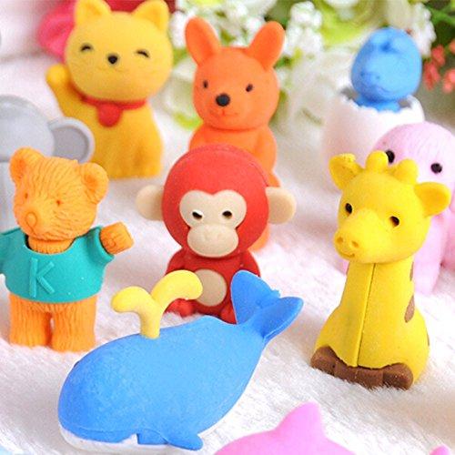 sunnymi 20 PCS Soft Radiergummi Tier DIY Stil Kinder ❤️ Für Kinder, die Geschenke Schreiben...
