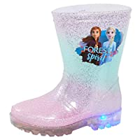 Disney Frozen 2 Girls Light Up Wellington Boots Elsa Anna Flashing Lights Snow Rain Wellies