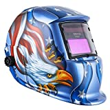 DEKO Solar Powered Welding Helmet Auto Darkening Hood with Adjustable Shade Range 4/9-13