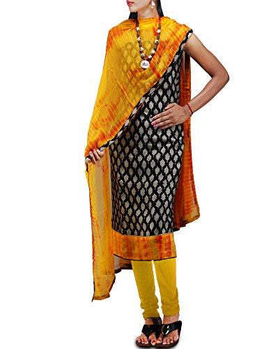 Unnati Silks Women Unstitched Black-Yellow Pure Maheshwari Silk Cotton Salwar Kameez