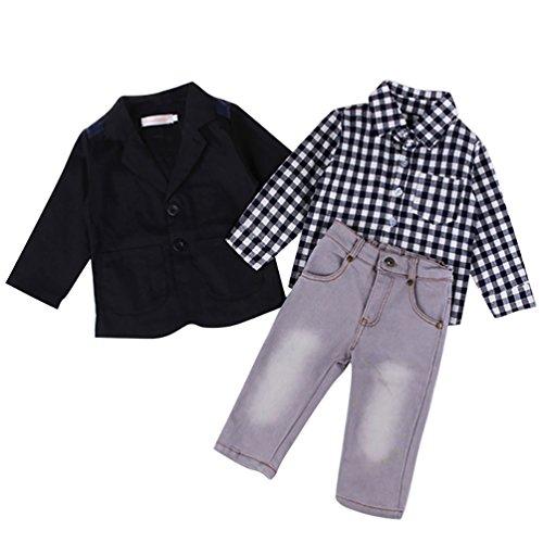 YOUJIA 3pcs Bekleidungssets für Baby-Jungen Plaid Shirt Tops + Blazer Mantel + Hose Jeans Gentleman Kleidung Set (Schwarz,90)