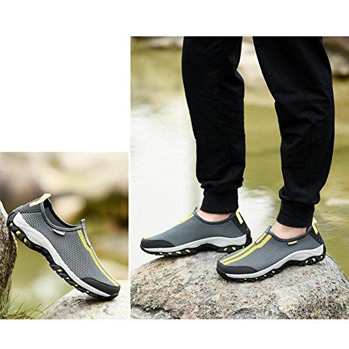 SAGUARO® Mesh Atmungsaktives Sneaker Breathable Aquaschuhe Strandschuhe Slip on Sommer Laufschuhe für Damen Herren Unisex Tiefgrau