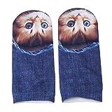 Lnlyin Cute 3d Cat Kitty Motif court Socquettes pour femme ado Filles As description 3#