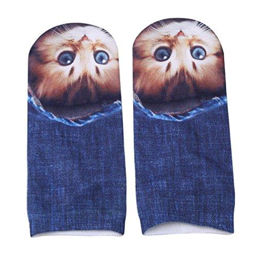lnlyin 3D Cat Cute Kitty Muster Kurz Knöchel Socken für Frauen Teens Mädchen Siehe Produktbeschreibung 3# -