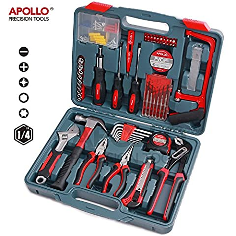Apollo 120pc Home & Garage Tool Set with Heavy Duty Tools including Groove Joint, Long Nose and Linesman Pliers, Adjustable Crescent Wrench, Fiberglass Hammer, Hacksaw and Blades, Screwdrivers, Bits, Metric Sockets, Hex Keys, Tape Measure, Voltage Tester, PVC Tape and Wall Plug and Screw Assortment all in a Durable Blow Mold