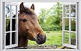 DesFoli Pferd Pferde 3D Look Wandtattoo 70 x 115 cm Wanddurchbruch Wandbild Sticker Aufkleber F473