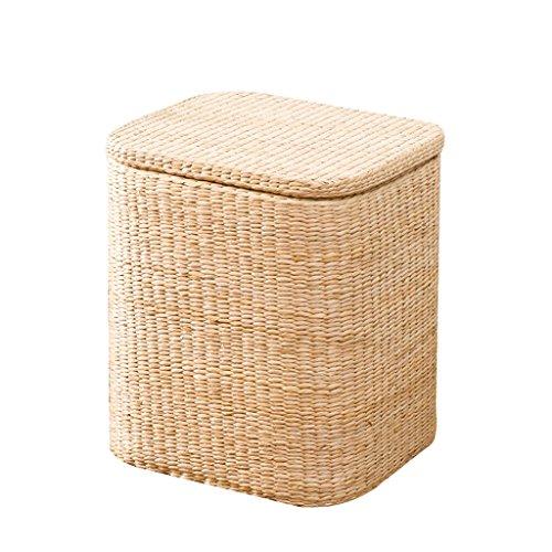 Tabouret de lit tissé à la main naturel tabouret de fin de lit tabouret de rangement en bois massif (Color : A, Size : 41 * 35 * 45cm)