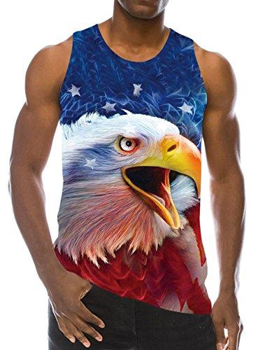 Goodstoworld 3D Camisetas Hombre sin Manga Tirantes Impresión Eagle Blue Chaleco Gym Camisetas Tirantes para Hombres S