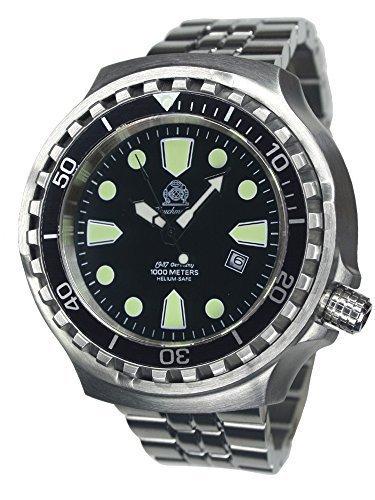Taucher Uhr m. Automatik Werk Saphir Glas Edelstahlband T0267-M