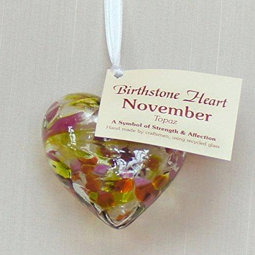 November Birthstone Glass Heart - Topaz by