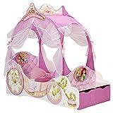 TW24 Luxus Kinderbett Disney Princess 140cmx70cm Einzelbett Bett Kutsche mit Dach