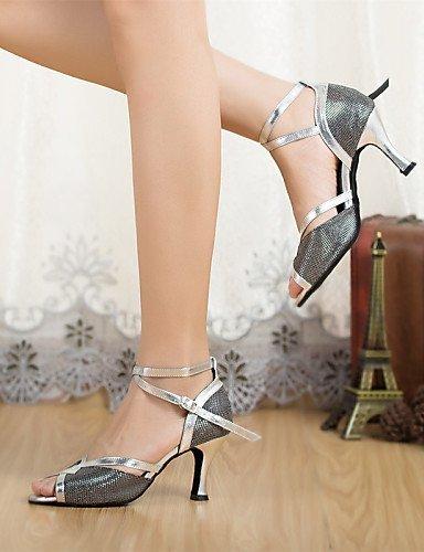 ShangYi Chaussures de danse ( Noir ) - Non Personnalisables - Talon Cubain - Paillette Brillante / Paillette -Latine / Jazz / Moderne / Gold