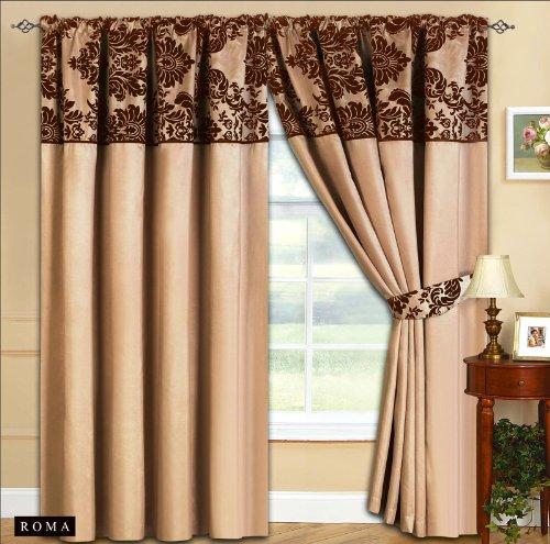 New Elegance Half Flock Ready Made Pencil Pleat Curtains With 2 Tie Backs / 66″x72″ & 90″x90″ (Beige Brown) (66″W x 72″L (168cm x 183cm))