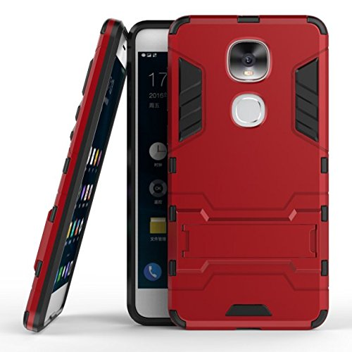 YHUISEN 2 In 1 Iron Armor Tough Style Hybrid Dual Layer Armor Defender PC + TPU Schutzhülle mit Stand Shockproof Case für LeTV LeEco Le Pro3 AI (LeTV New Models AI Version, kein Le Pro3) ( Color : Blu Red