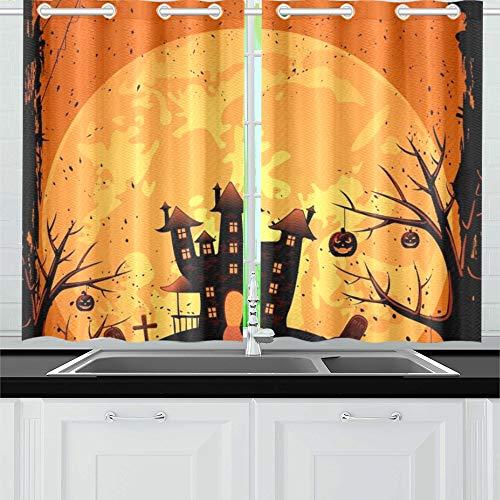 ight Creepy Castle Kürbisse Küchenvorhänge Fenster Vorhangebenen für Café, Bad, Wäscherei, Wohnzimmer Schlafzimmer 26 x 39 Zoll 2 Stück ()