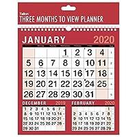 2020 Three Month To View Spiral Bound Wall Planner Calendar - home office work
