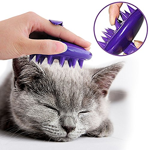 NO-HURT-Cat-Brush-2016-New-CELEMOON-Ultra-Soft-Silicone-Washable-Cat-Grooming-Shedding-Message-Bath-Brush-Hurtless-Elastic-Purple