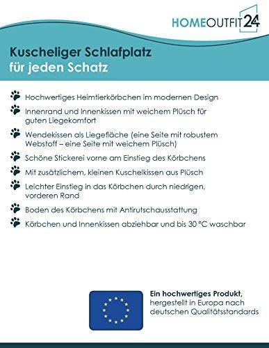 Homeoutfit24 Lucky Hundekorb Premium S 59 x 67 x 20 cm grau anthrazit Bezug waschbar mit Wendekissen weich Plüsch kuschelig Fell Hundebett Hundematte Hundedecke - 5