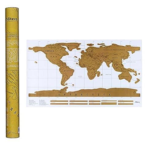 Mitavo Premium Rubbel Weltkarte mit Scratcher ! Weltkarte zum Rubbeln für Jung und Erwachsene, die Rubbel Landkarte in stabiler AufbewahrungsTube / Geschenkrolle