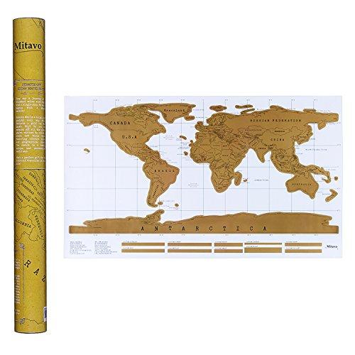 Mappa da Grattare Mitavo Premium con raschietto ! Carta geografica da grattare, Scratch off Map per bambini e adulti, la cartina da grattare nel robusto tubo per la conservazione / cilindro regalo Mappa del mondo da grattare