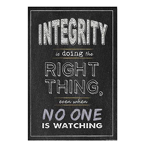 Hosaire 1x 'Integrity is Doing The Right Thing' Póster de Tela de Seda Lamina de Pared Motivational Quote Sign Inspirational Wall Art Print Picture for Classroom Office Decoración del Hogar 20x25cm