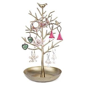 Dazone Vögel Schmuckständer Kettenständer Baum Armbandständer Schmuckhalter Ohrringhalter Metall Schmuckaufbewahrung Schmuckbaum Damen