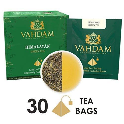 Grüntee-Blätter aus dem Himalaya (30 Teebeutel), 100% Natürlicher Detox Tee, Gewichtsverlust- & Schlankheitstee, REICH an NATÜRLICHEN ANTIOXIDANTIEN, der Weltweit Feinste Lose Blätter Grüntee, Verpackt an der Quelle (Grüner Tee)